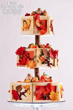 Fall Leaves & Acorns Wedding Cake