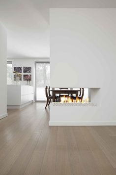 Living Room Designs, Living Room Decor, Living Spaces, Modern Fireplace, Fireplace Design, Open Plan Kitchen Diner, Room Divider Walls, Partition Design, Apartment Interior Design
