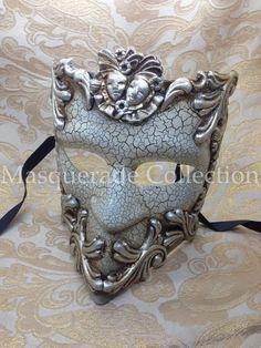 Masquerade Bauta Guardian Collection -  Silver Venetian Masquerade Mardi Gras Mask on Etsy, $27.45 AUD