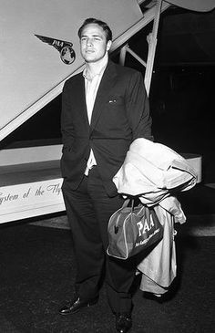 Arriving at a French airport for the Cannes Film Festival in 1954. Marlon Brando #Brando #Cannes #1954