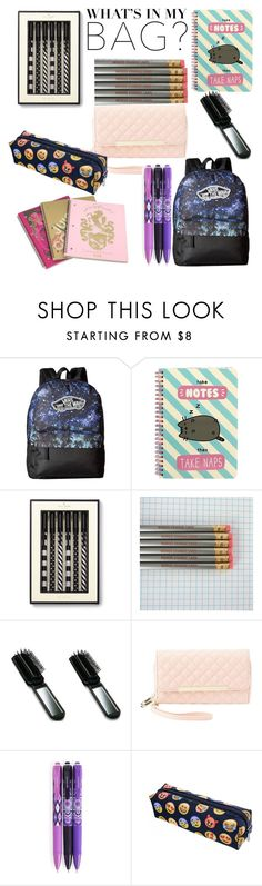 """Back to school bag."" by evalia1291 on Polyvore featuring Vans, Pusheen, Juicy Couture, Kate Spade, Charlotte Russe, Vera Bradley, backpack and inmybackpack"