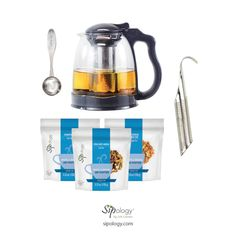 Iced Tea collection Includes: ParTea Pitcher 1 Pot Steeped Tea Spoon Cosmopolitian g) Citrus MInt Sangria g) Buttercream Carrot Cake ( bonus gift included: 1 Hooked on Tea Infuser Display Ads, Tea Infuser, Iced Tea, Carrot Cake, Sangria, Drip Coffee Maker, Spoon, Mint, Collection