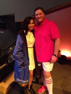 Naya Rivera and Dot Marie Jones on the Glee set