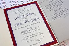 Wedding invitation ~ plum and red