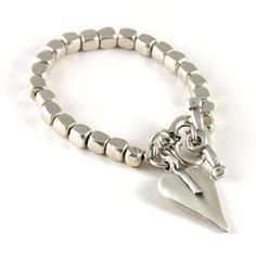The Danon Silver Cube Chunky Signature Heart Bracelet, striking and elegant for the perfect women's gift.