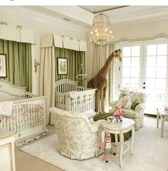 One of our favorites:  Mariah Carey's nursery for twins Roc and Roe, designed by Gail Sedigh, owner/designer of AFK.