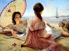 Burke, Brenda - Women Sitting on Beach, Reading, St Clothes