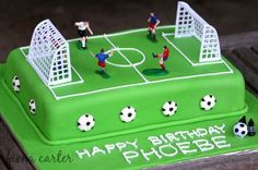 Soccer-cake- with figures Soccer Birthday Cakes, Cool Birthday Cakes, 7th Birthday, Soccer Cakes, Soccer Ball Cake, Cake Ball, Soccer Theme, Soccer Party, Football Pitch Cake