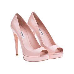 Miu Miu patent leather open-toe platform pumps pale pink
