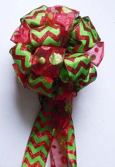 Chevron Polka Dots Christmas Tree Bow by SimplyAdornmentsss