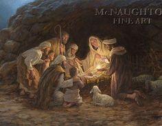 The Nativity by Jon McNaughton     Baby Jesus, manger, Mary and Joseph, Bethlehem, shepherds, newborn King, Son of God, Christ, Savior, joy, lamb, Begotten Son, love