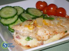 Super Savings: Jalapeno, Bacon, and Pepper Jack Stuffed Chicken Breast Recipe = Amazing! {Trim Healthy Mama = S meal} High Protein Low Carb, High Protein Recipes, Low Carb Recipes, Cooking Recipes, Healthy Recipes, Healthy Meals, High Protien, Atkins Recipes, Diabetic Meals