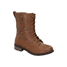 Women's Wild Diva Mango-08 - Tan Faux Leather Combat Boots ($40) ❤ liked on Polyvore featuring shoes, boots, tan, studded boots, faux leather lace up boots, vegan combat boots, combat boots and army boots