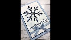 New Stampin Up! Snowflake Wishes Aug/Dec Mini Catalogue with DonnaG! - YouTube Homemade Christmas Cards, Stampin Up Christmas, Christmas Greeting Cards, Christmas Tag, Holiday Cards, Snowflake Cards, Christmas Snowflakes, Handmade Birthday Cards, Handmade Cards
