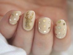 Christmas holiday nails gold polka dots design art reindeer winter nails