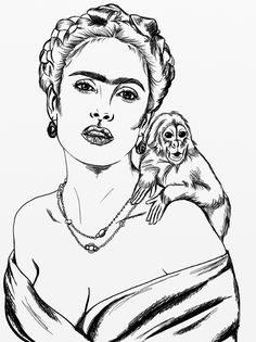 Cartoon Sketches, Art Drawings Sketches, Frida Kahlo Cartoon, Kahlo Paintings, Celebrity Drawings, Black And White Drawing, Black White, Sewing Art, Famous Art