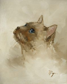 Original Oil painting of a cat by UK artist J by johnspaintings