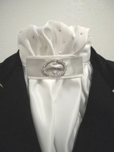 Equestrian Pzazz dressage and show stock tie.  Made with luxurious bridal satin and hand applied diamantes with silver (or your choice of colour) ribbon $55.00  http://facebook.com/equestrian.pzazz