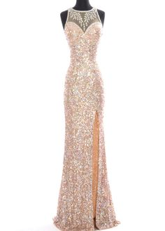 Precious Formals P9125 Dazzling Nude Crystal Sequin Gown