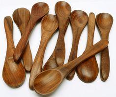 "Lot 12 pcs Vintage Style Handmade Rose Wood Spoons 6""L    eBay"