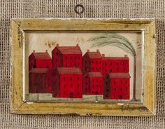 Folk art watercolor cityscape, 19th c., 3 3/4'' : Lot 337