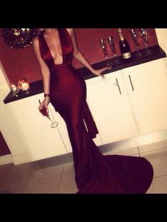 Sexy Sleeveless Mermaid Burgundy Prom Dress Sweep Train