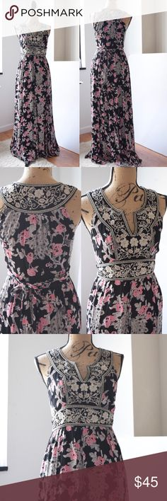 "Monsoon of London Floral Maxi Dress Beautiful long gown by Monsoon. Size US 6 or Small. Length is 53"", waist is 28"", chest is 34"". Back adjustable tie. Gold - champagne embroidered embellishment. Excellent condition - worn once. Fully lined. 100% viscose. Monsoon Dresses Maxi"