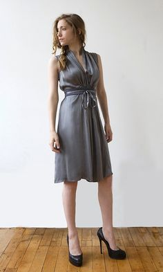Grey silk dress