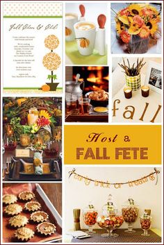 Invitations, decorations and food for a Fall Party