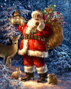 WOODLAND SANTA BY DONA GELSINGER Christmas Scenes, Noel Christmas, Father Christmas, Vintage Christmas Cards, Christmas Pictures, Winter Christmas, Christmas Glitter, Christmas Mantles, Christmas Gifts