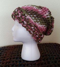 Crochet Pink Camo Beanie Hat