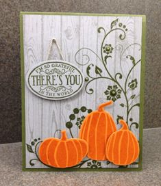 Stampin' Up! ... hand crafted card ... luv the unique look ... pumpkins stamped tone on tone orange ... shades of gray for everything else ... great card ...