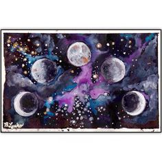 Moon Phases by Bee Lysko - Galaxy Moon Star Watercolor Painting Print by BeeAndTheBeast on Etsy https://www.etsy.com/listing/463985447/moon-phases-by-bee-lysko-galaxy-moon