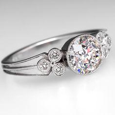 Bezel Set Old Euro Diamond Engagement Ring Platinum