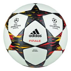The Adidas Champions League OMB (Official Match Ball) is mainly white with a black / orange / yellow triangle pattern. Soccer Gear, Play Soccer, Soccer Cleats, Soccer Players, Soccer Ball, Soccer Fifa, Soccer Equipment, Champions League 2014, Champions League