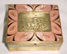 Figural Bronze Box with Pink and Black Enamel Guilloche Border Surrounding a Scene of Chariot and Horses.