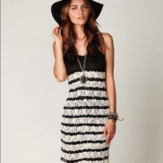 Free People Lace & Crochet Dress Black & Cream Shell: 75% rayon , 25% nylon Lining: 100% poly Lined Adjustable shoulder straps Slip on styling Dry clean only Manufacturer Style No. F719Z052 Free People Dresses