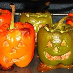 "Stuffed Jack-O-Lantern Bell Peppers | ""This was fun, my kids loved them. I used our pumpkin carving kit little knife for making the faces and it was really quick and much easier than I thought."""
