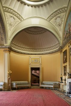 Soane loved to conjure with volumes, deliberately juxtaposing 'inside' and 'outside', 'open' and 'closed'. At Wimpole Hall, Cambridgeshire, Soane used a pendentive dome when he created the Yellow Drawing Room there in the 1790s.
