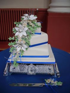Royal blue theme wedding cake made by myself   My link https://www.facebook.com/pages/Precious-Cakes/1611600112416790
