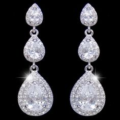 Gem Diamond AAA Zircon Teardrop Bridal Earring Silver by Annamall, $23.99