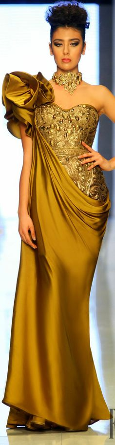 White and Gold Wedding. Gold Bridesmaid Dress. Elegant and Glamorous. Fouad Sarkis Spring-summer 2014 Couture