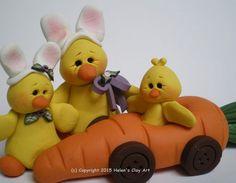 Polymer Clay Easter Chicks wear Easter Bunny Ears by HelensClayArt
