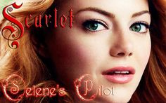Emma Stone w/ red hair as Scarlet. I manually replicated book 2's cover font for the name (and of course made it red). I also used my Star Lit Nite font for the sub-title. This is image 2 in a series of 8. I used an ashy rose color for the main hue of the Star Lit Nite, simulating the bloody color the moon sometimes turns when there has been a fire, giving it a scarlet glow as sometimes appears when the rose-phenomenon occurs on a cold night (basically you get a pink/red ring around the…