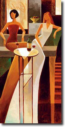 Tangletown Fine Art Les Sirens by Keith Mallett Fine Art Giclee Print on Gallery Wrap Canvas, 15 x 29 Modern Art, Contemporary Art, Afrique Art, Art Deco Posters, Wine Art, Canadian Art, In Vino Veritas, Black Art, Figurative Art