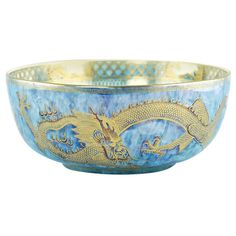 Wedgwood Fairyland Lustre 'Celestial Dragons' Centerpiece Bowl | From a unique collection of antique and modern bowls and baskets at https://www.1stdibs.com/furniture/decorative-objects/bowls-baskets/