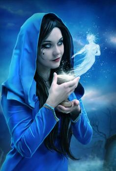 In this fantasy digital art by Jessica Allain, a blue robed mage whispers to an…