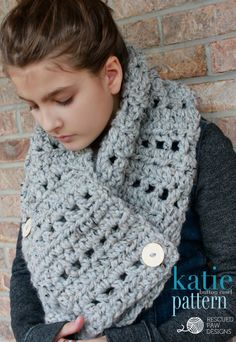 Katie Button Cowl free #crochet pattern from Rescued Paw Designs