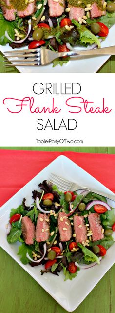 Grilled Flank Steak Salad. This one is so good! I made the salad dressing from the left over chimichurri sauce. DIVINE!