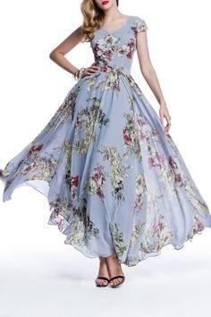 Eavnos Gray Flower Print Bohemian Maxi Dress | Maxi Dresses at DEZZAL
